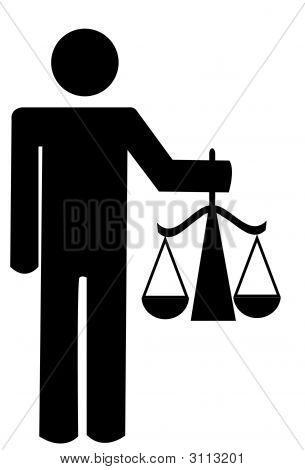 Stick Man Holding Scales
