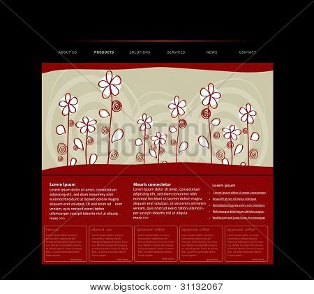 Website template with handdrawn flowers in editable vector format