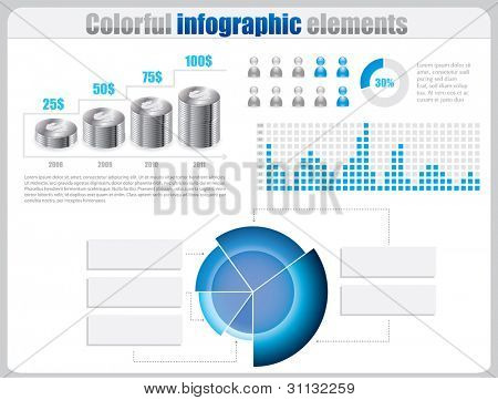 Blue infographic set with coins and charts