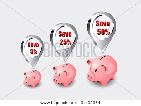 Pink piggy bank icons as vector illustration