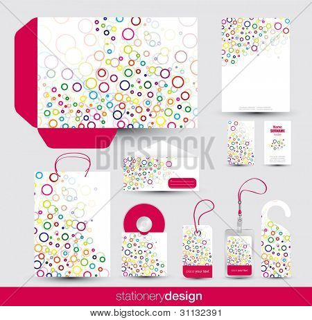 Funky stationery set design in editable vector format