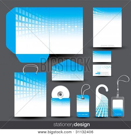 Blue stationery set design in editable vector format