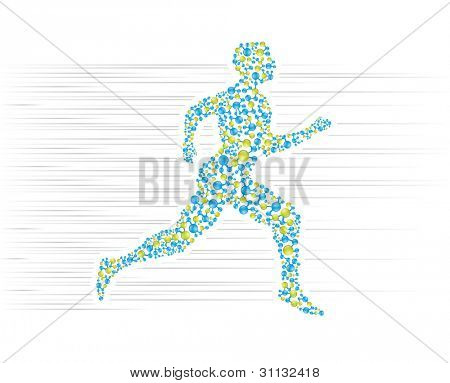 Human body running in scientific presentation