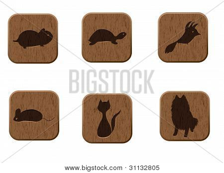 wooden icons set with pets silhouettes.