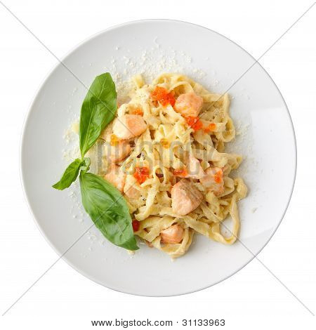 Top View Of Fettuccine With Salmon And Caviar
