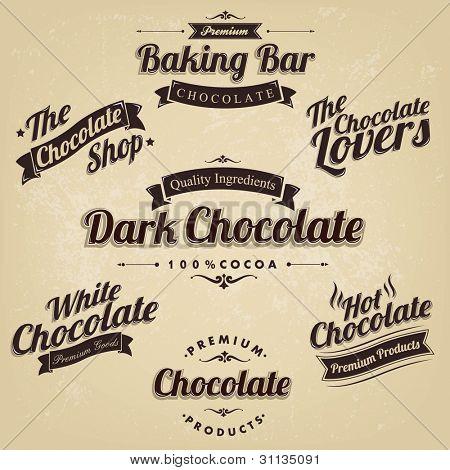 Premium Retro Chocolate Vintage Label Set