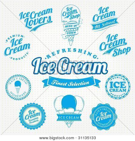 Retro Vector Ice Cream VIntage And Label