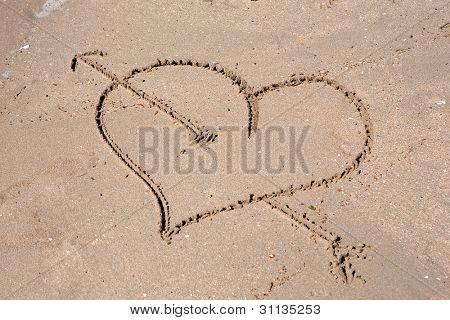 Heart engraved on the wet sand of the beach