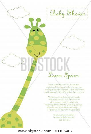 Baby Shower With Cute Green  Giraffe. Vector Eps 10  Illustration