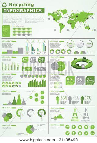 Coleção de infográficos de ecologia, elementos de gráficos vetoriais gráficos, mapa do mundo,