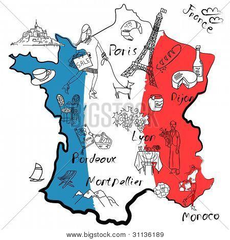 Mapa estilizado da França. Coisas que diferentes regiões da França são famosas por.