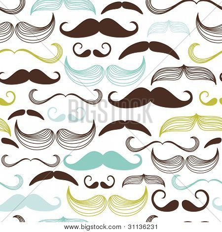 Art Deco mustache Seamless Pattern, Retro Style, Vector Illustration