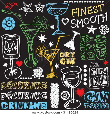 crazy gin drinking doodles, hand drawn design elements