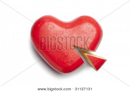 Heart shaped Gouda cheese on white background