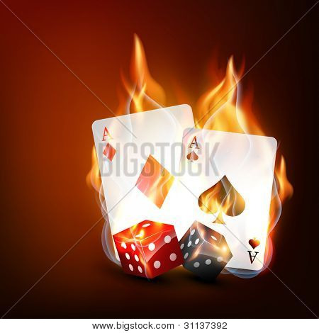 vector burning casino playing cards with dice