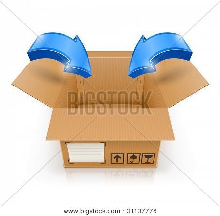 opened box with arrow inside vector illustration isolated on white background EPS10. Transparent objects and transparency mask used for shadows and lights drawing.
