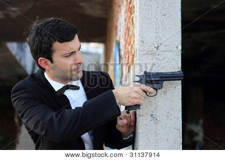 Special-service agent or body guard with 357 gun
