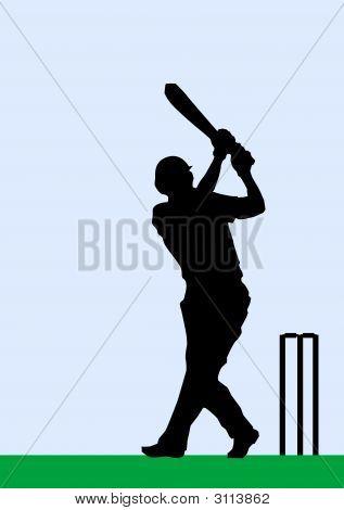 Silueta de un jugador de críquet bateando una pelota