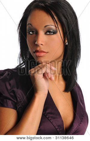 Portrait of beautiful African American businesswoman Isolated over white background
