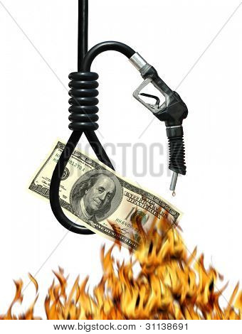 Noose, gas nozzle, money and fire metaphor symbolizing the cost of oil
