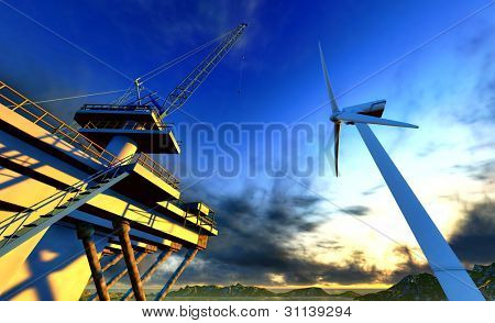 Oil Rig und off-Shore-Wind-turbine