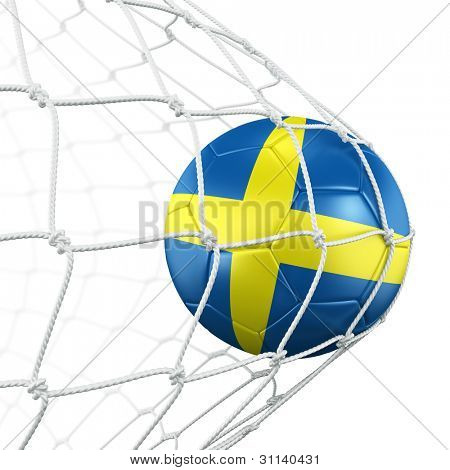 3d rendering of a Swedish soccer ball in a net