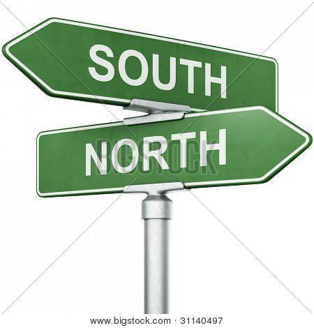 "3d rendering of signs with ""SOUTH"" and ""NORTH"" pointing in opposite directions"