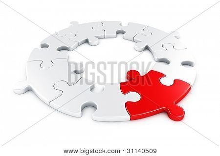 3d rendering of a circular puzzle with one piece in red