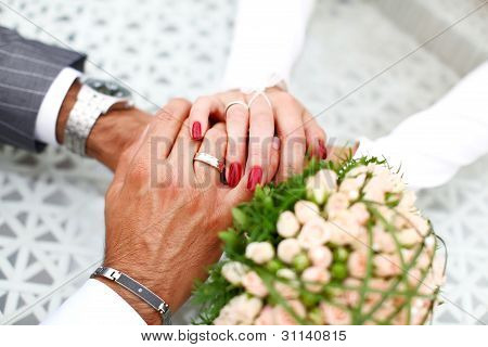 Bride And Groom Hand In Hand Together