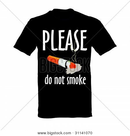T-shirt In Black Color Do Not Smoke