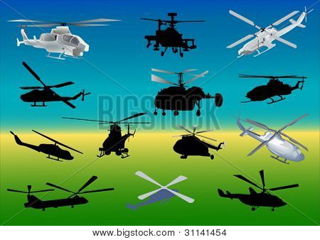 illustration with set of thirteen helicopters