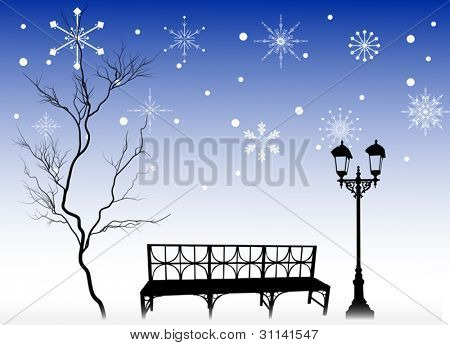 illustration with tree and bench under snowflakes