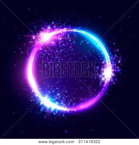 poster of Vibrant Neon Circle With Glowing Confetti Particles On Dark Blue Background. Modern Round Frame With