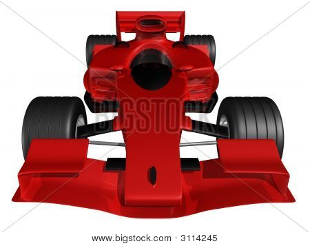 Red 3D Race Car Front View On White Background