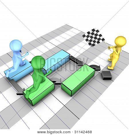Concept of gantt chart. A team completes tasks