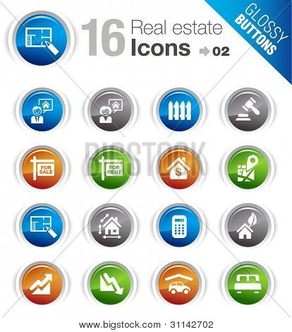 Glossy Buttons - Real estate icons