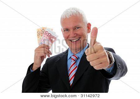 Businessman Money Thumb Up