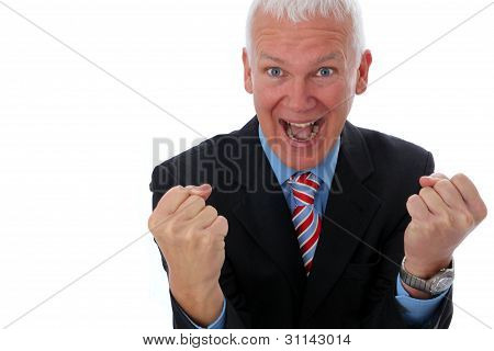Businessman Crazy With Two Fists