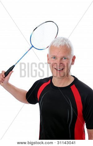 Senior With Badminton Racket Over Head