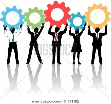 Team of business tech people hold up technology gear collaboration solution