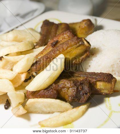 Pork Chops Spare Ribs Plato Del Dia La Candelaria Bogota Colombia