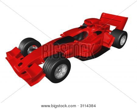 Red 3D Race Car Side View On White Background