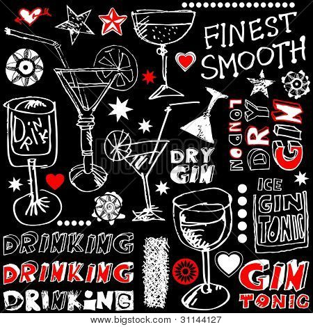 crazy drinking doodles, hand drawn design elements isolated on black background