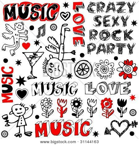 funny music doodles, crazy party scribbles isolated on white background