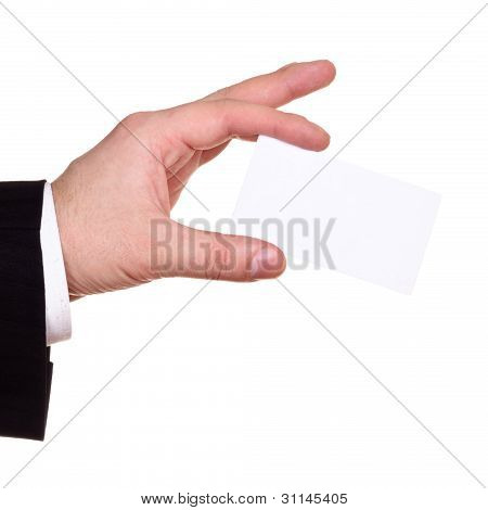 businessman hand show blank card