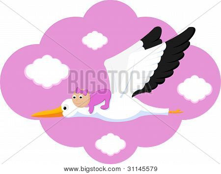 Flying Stork Delivers Baby Girl