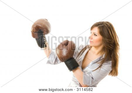 The Young Businesswoman Defends From Competitors