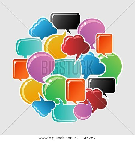 Social Bubbles Speech Set In Circle