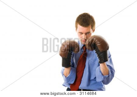 The Young Business Man Defends. Isolated Over White Background