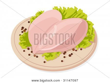 Vector fresh raw chicken breasts with black peppercorns